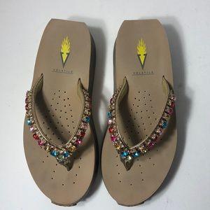 Volatile Jeweled Wedge Sandal Size 6